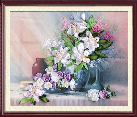 livraison gratuite cool lys fleurs ruban de soie de broderie unique bricolage craft cadeau. Black Bedroom Furniture Sets. Home Design Ideas