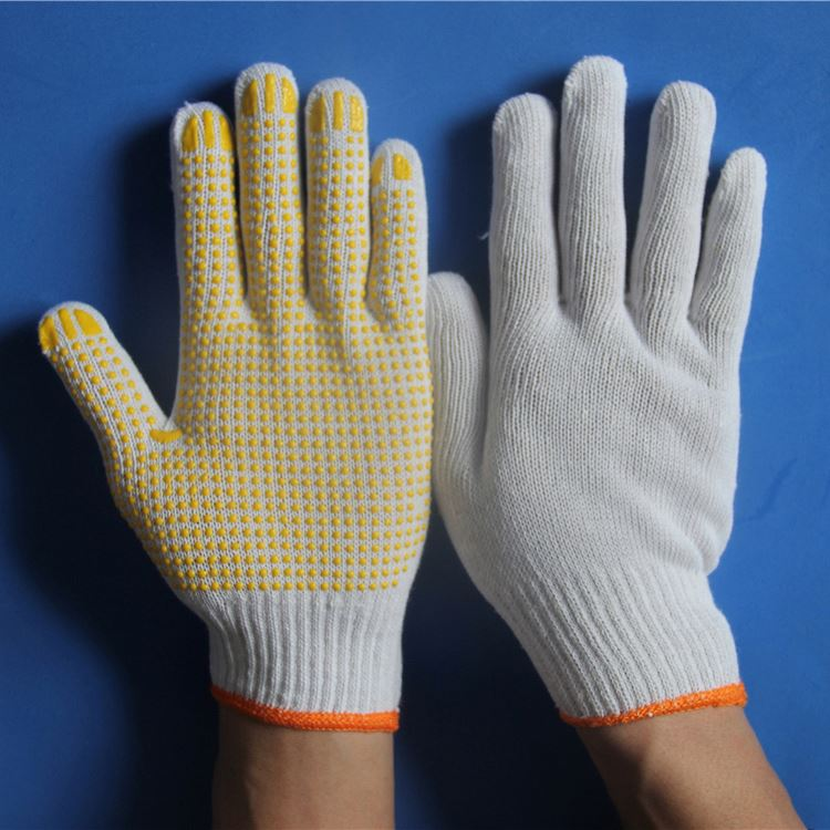 2014 String knit gloves with PVC Dots on one side