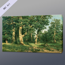 Handmade Natural Scenery Landscape reproduction Ivan Ivanovich Shishkin oak Grove Famous Landscape Paintings with frames