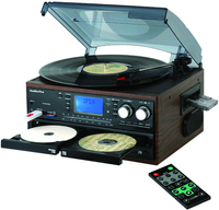 Desonic All in one multiple record player turntable with double cd usb recording cassette am/fm radio aux in and line out