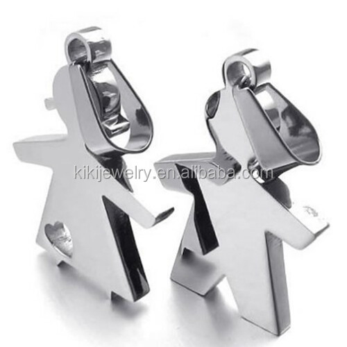 Simple 2pcs Couple Blank 316L Stainless Steel Boy And Girl Pendant