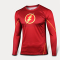 Super Thin The Flash Long Sleeve Shirt 3D Cutting UV Resist Sports T shirt Marvel Lycra