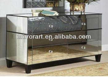 Venetian Design Mirrored TV Stand With Drawers