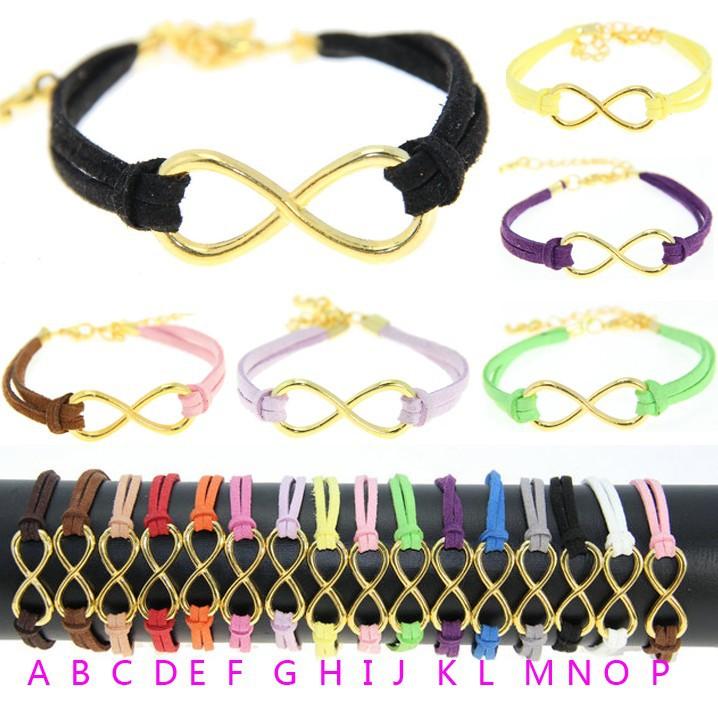 La103 девочка 18 цветов ювелирные изделия винтажный плетёный металл 8 бесконечность веревка черный кожа браслеты браслет для женщины