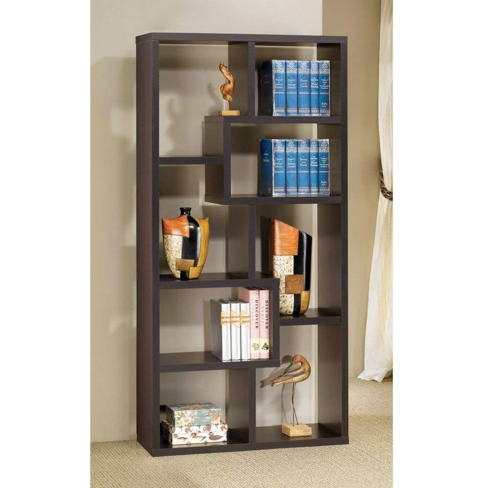 Trustpurchase Modern Cube Contemporary Style Bookcase in Cappuccino Finish, Can Be Used to Dress Up Any Wall w/The Look of Interlocking Shelves, which Provide Storage Display Space in Different Sized