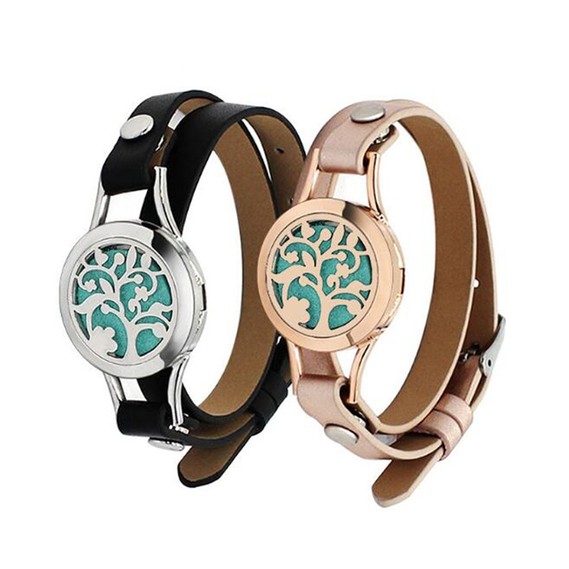 Rose Color 316L Stainless Steel Watch Band Oil Diffuser Bangle for Women Men Incense Bracelet Jewelry
