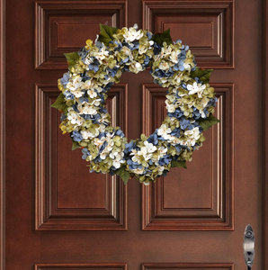W7202 New fashion Front Spring Door Beautiful Blended Blue Cream Green Hydrangea Wreath
