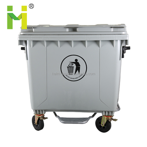 1100L Large Size Outerdoor Wheeled Plastic foot pedal container recycle bin