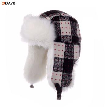 f3216628e4f48 Personalizado meninos meninas xadrez moda ear flap inverno esqui de pele  ushanka trooper chapéu do aviador