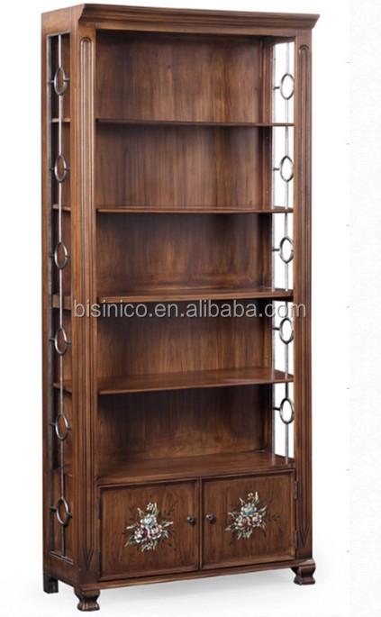 BISINI Mediterranean Style Bookshelf And Desk Study Room Solid Wood 3 Piece Suit Bookcase