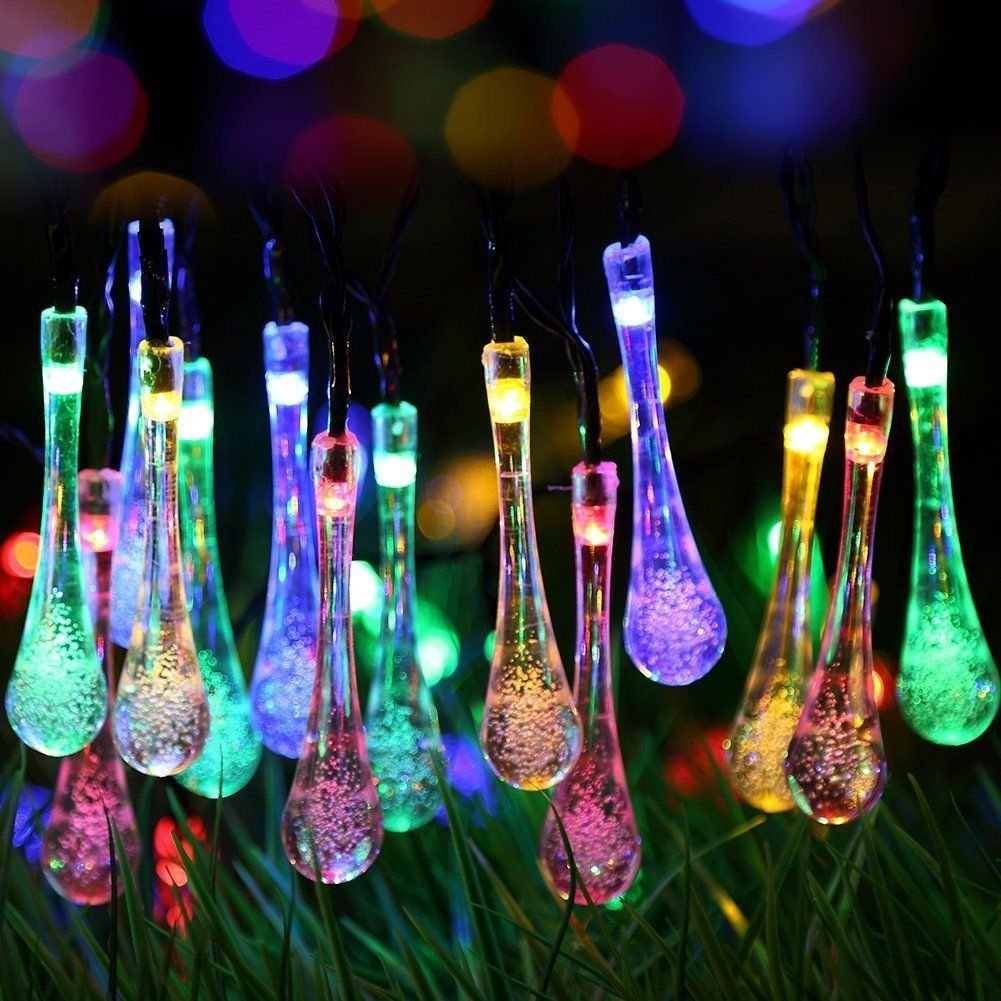 bestface solar outdoor string lights 20 led water drop solar string fairy waterproof lights christmas