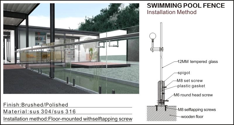 Concrete floor mounted glass handrail buy price