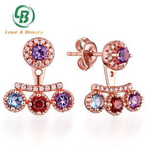 Hot Sale Gemstone Micro Setting 925 Silver Gold Jhumka Earrings Design With Price