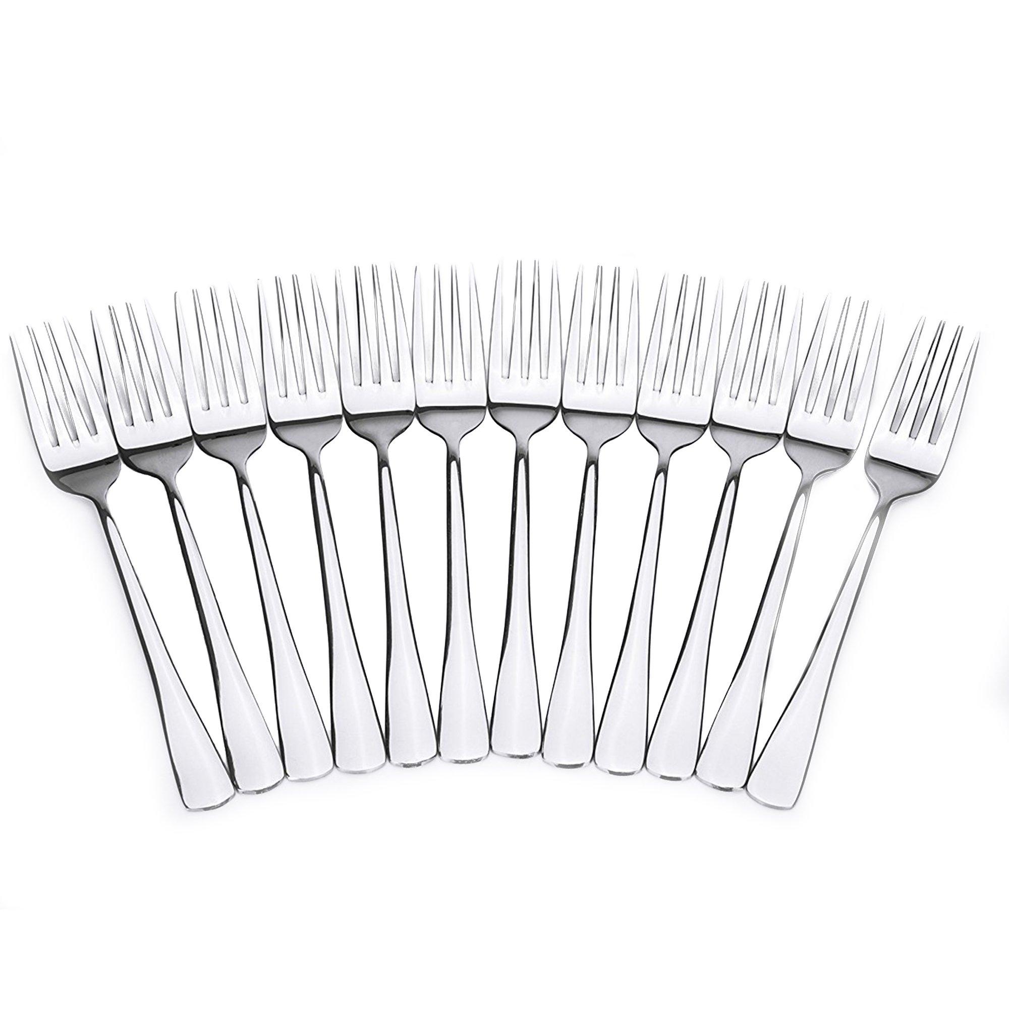 Royal 12-Piece Table Forks Set - 18/10 Stainless Steel Dinner Forks, Mirror Polished Flatware Utensils - Great Salad Forks, Use for Home, Kitchen, or Restaurant