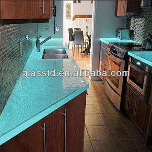 Contemporary glass blue quartz countertops
