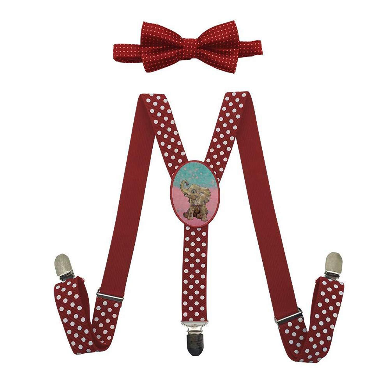 Qujki Funny Elephant Suspenders Bowtie Set-Adjustable Length