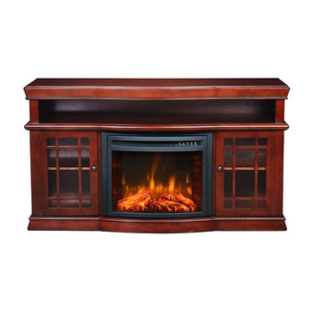 2 Zijdig Indoor Hout Schoorsteenmantel Decoratieve Entertainment Center Elektrische Haard