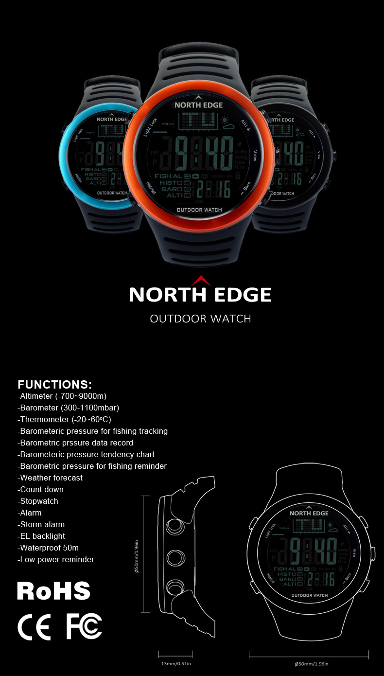 North Edge OEM outdoor hot sale weather altimeter barometer air pressure fishing watch sport man wrist watch analog military