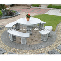 Outdoor Stone Table And Benches