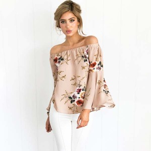 OEM&ODM Fashionable Summer Spring Off Shoulder Chiffon Sexy Women Tops Ladies Blouse