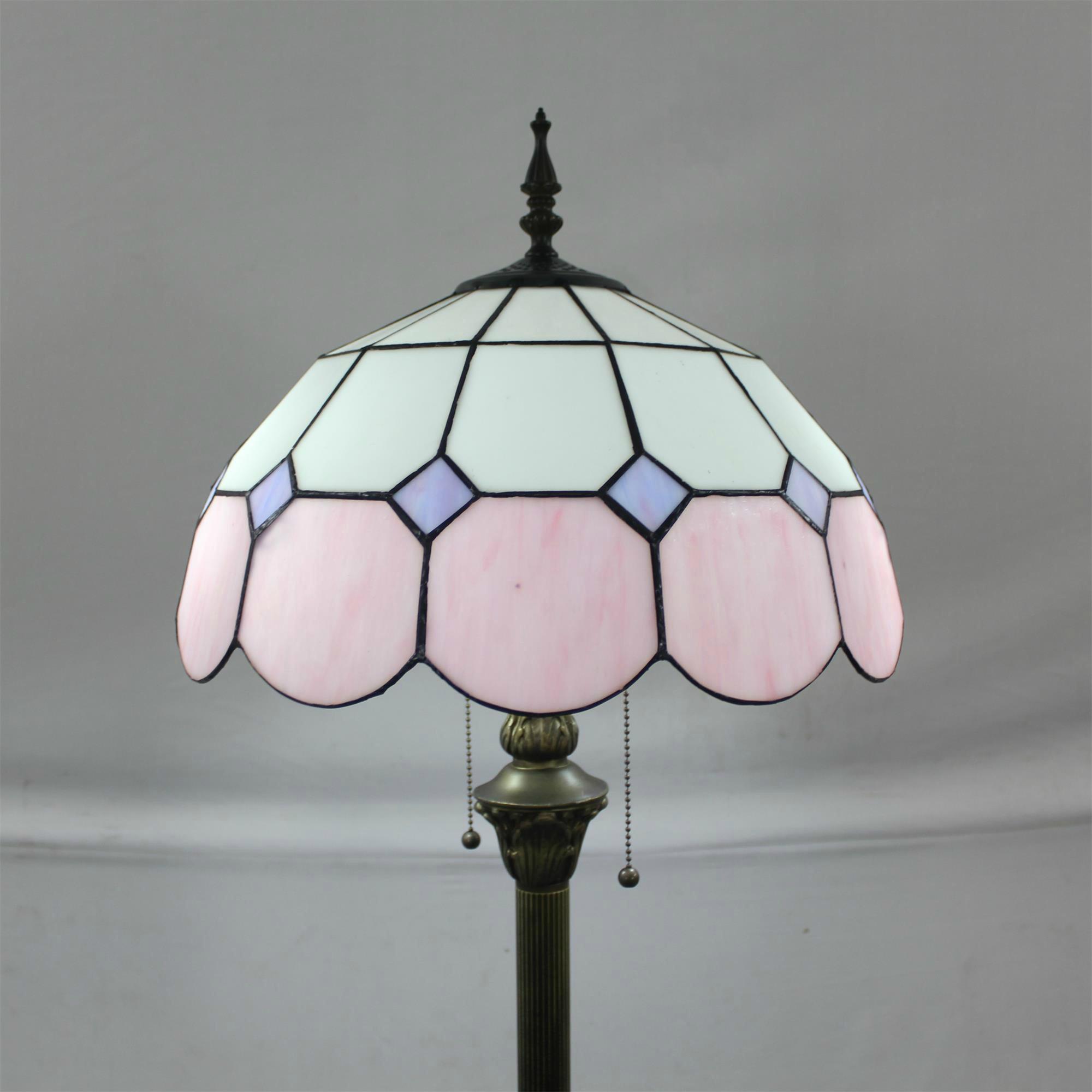 ETERN 16-Inch Mediterranean European Pastoral Style ElegantLuxury Creative Handmade Stained GlassFloor Lamp - Pink