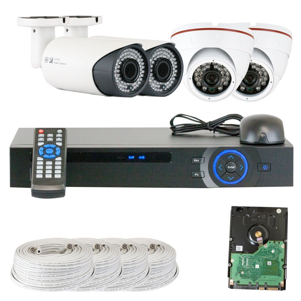 GW Security Inc VD4CHC8 Channel HDCVI DVR Security Camera System with 4 x 1/2.9 HDCVI Color IR CCTV Security Camera