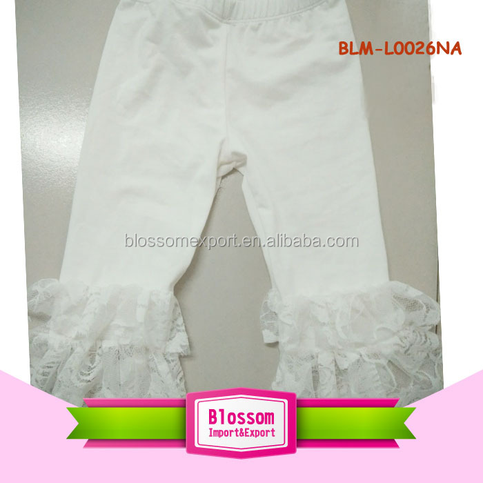 Girls boutique clothing baby lace ruffle pants knitted cotton bottom double lace pants design infant fancy leggings ruffle