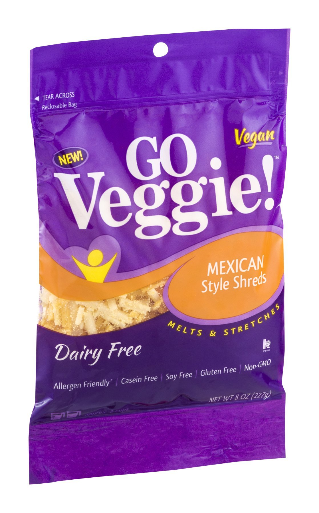 GO Veggie! Dairy Free Mexican Style Shreds 8 OZ (Pack of 12)