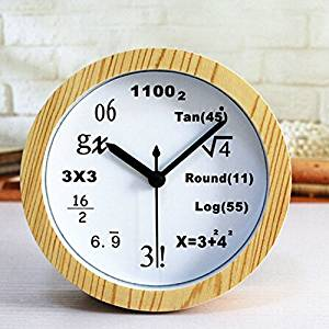 "Usany 4.7"" Silent Round Math Equation Wood Grain Alarm Clock Creative 3D Desk Clock Shelf Clcok Living Room Bedroom Decor Desktop Clock Watches Art"