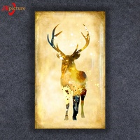 Landscape And Elk With Inner Frame Wall art Canvas Print Light Up Led Paintings Canvas