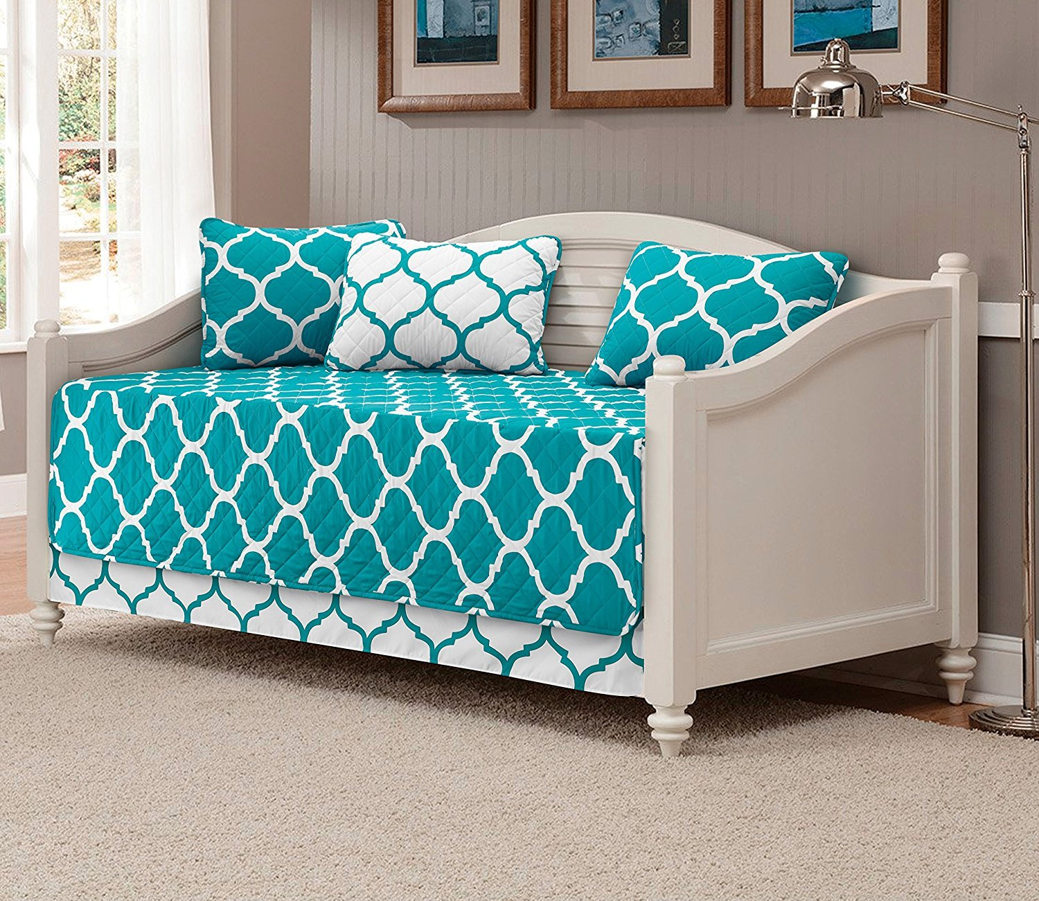 Fancy Collection 5pc DayBed Quilted Bedspread Coverlet Set Modern Geometric Turquoise/White New