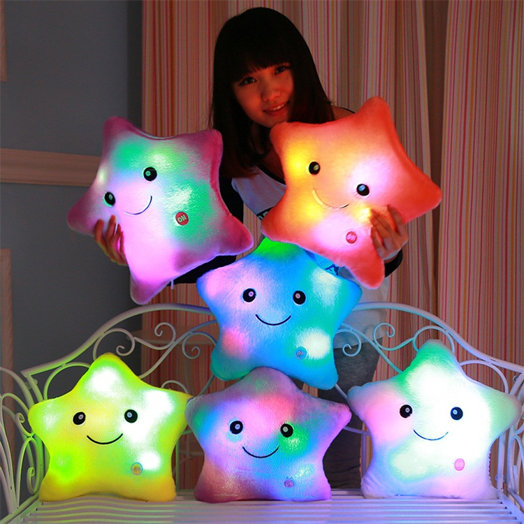Birthday Present Plush Toys LED Light Luminescence Colorful New Year Music Pillow