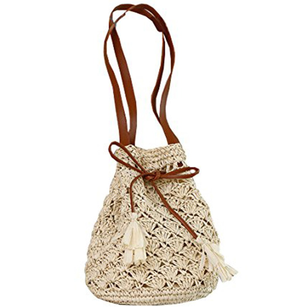 Attractive 2 Strings Single Shoulder Handmade Hollow out Straw Beach Bag