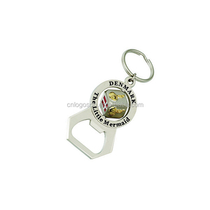 Danmark souvenir keychain matt nickel 3d dice keyring metal bottle opener