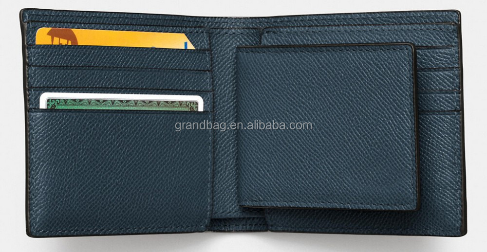 RIDF top grained crossgrain genuine leather compact businessman men's wallet with detachable card case