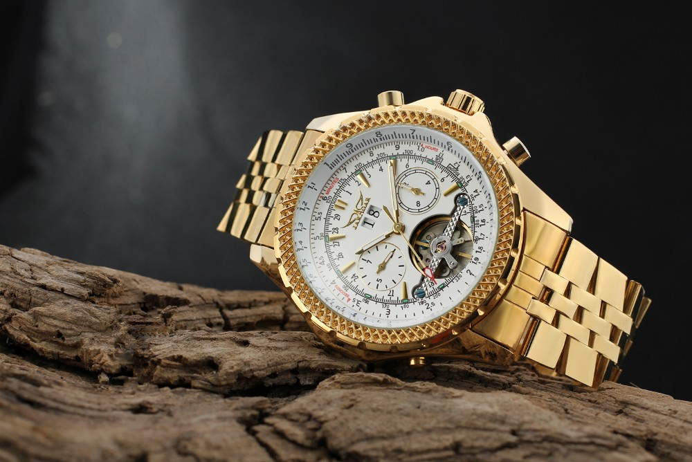 2018 Jaragar Luxury Gold Hot Selling Brand relojes Man automatic tourbillion stainless steel material watches