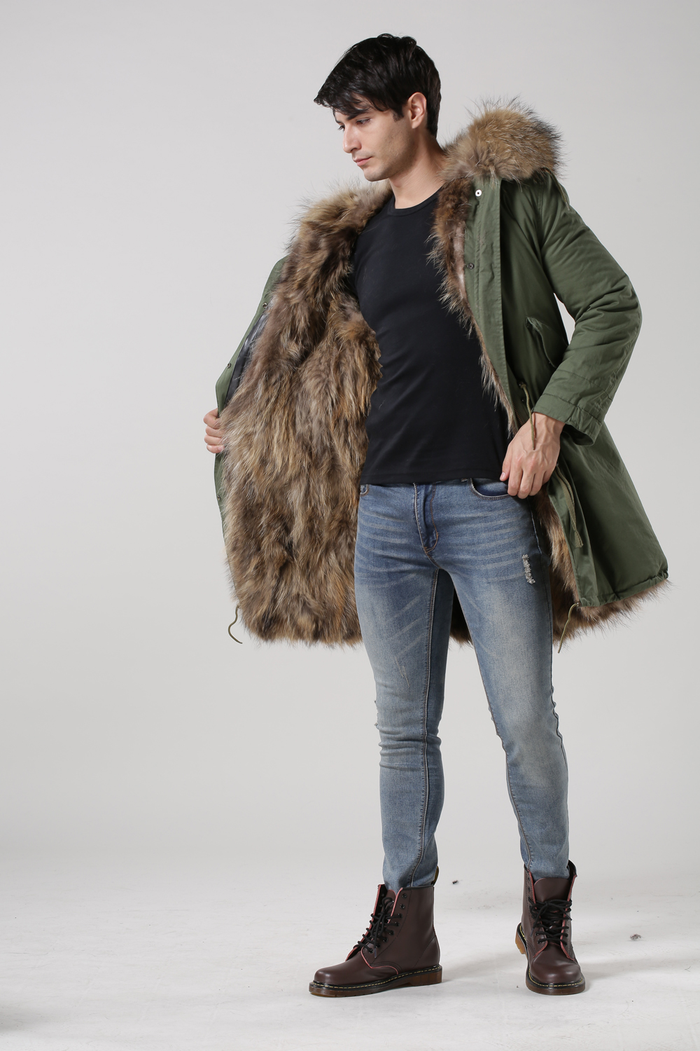 buy real fox fur lined natural color with real raccoon fur hood unisex parka. Black Bedroom Furniture Sets. Home Design Ideas
