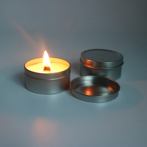 Aroma body massage soy wax candle metal tin with wood wick