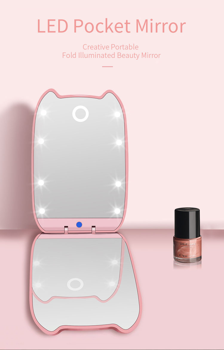 Different Color Mini Foldable LED Light Cosmetic Mirror Foldable Cartoon Cat Twice Times Magnification Pocket