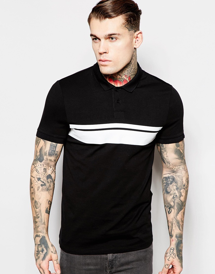 Summer Black And White Stitching Two Color T Shirt Color ...