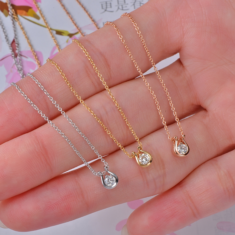 Caimao Jewelry 14K Gold Natural Brilliant Cut Diamond Engagement Pendant Exquisite Small Chain