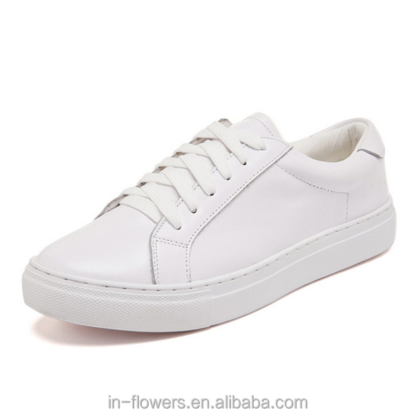 Make your brand genuine leather high quality white sneakers for women casual shoes
