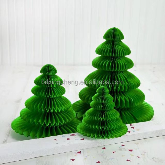 Customized party decorations 28g tissue paper honeycomb christmas tree