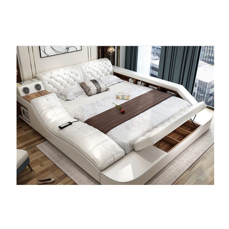 Cbmmart Modern Luxury Multifunctional Bedroom Furniture White Double  Leather Bed And Living Room Sofas - Buy Living Room Bed,Living Room  Sofas,Massage ...
