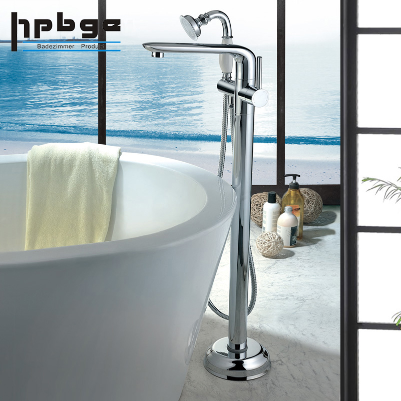 Copper Bathtub faucet landing hot and cold shower tap vertical cylinder side bath faucet