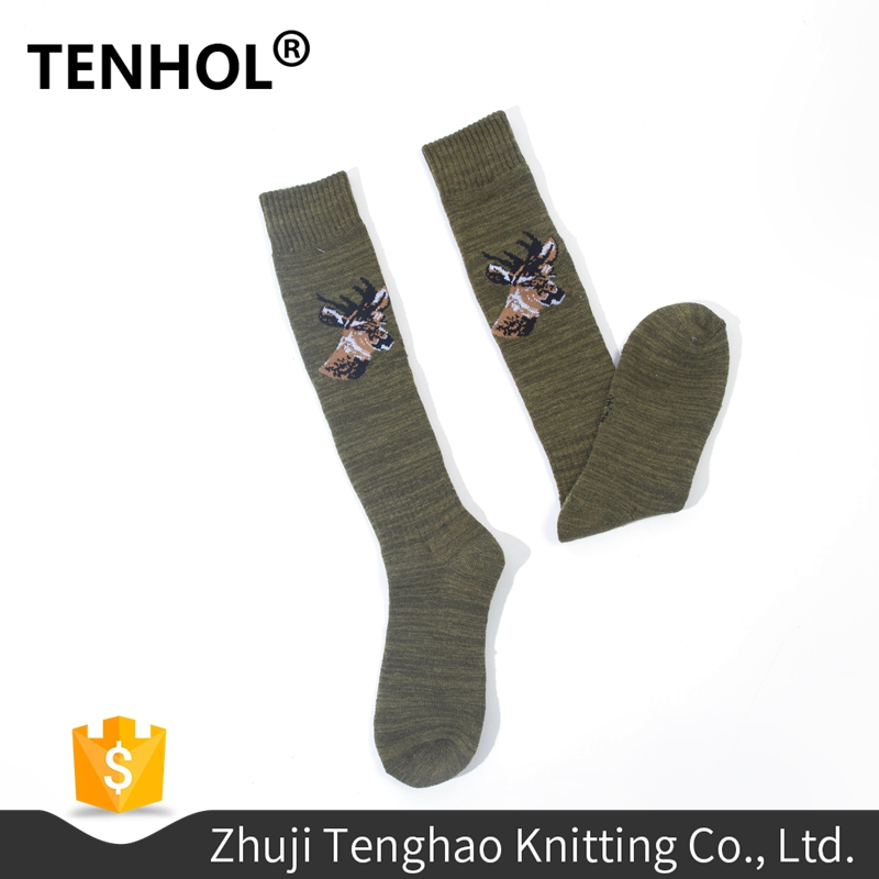 Custom deer labels thin wool long sport army green socks
