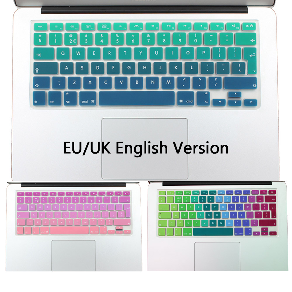 444e8421aed Silicone EU/UK Enter layout Gradient Colors Keyboard Skin Cover for Apple  MacBook Air Pro