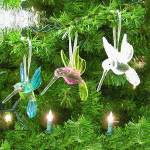 Hand blown Hummingbird Glass Ornaments with Glitter Accents,Christmas Tree Ornaments Xmas Gift