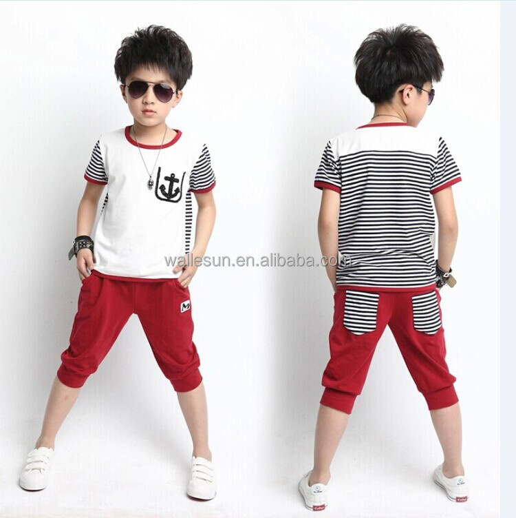 Boy Sets clothes cotton tops T shirt with short pants wholesale kid clothing
