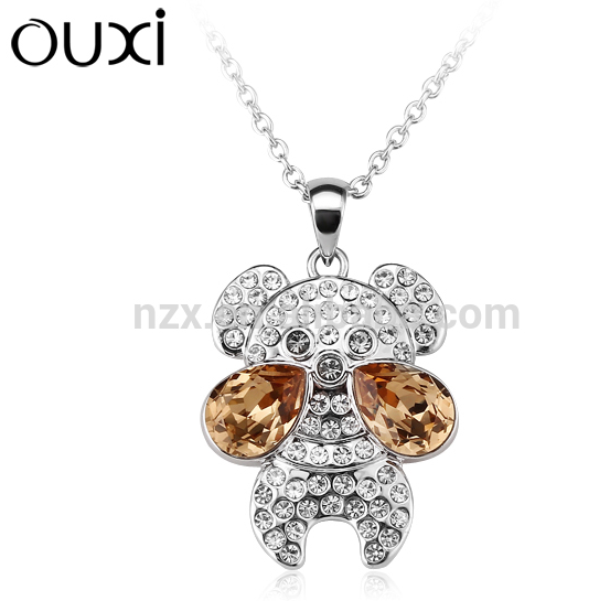 OUXI wholesale jewelry happy dog pendant made with crystal with gold &rhodium plated alloy necklace 10947